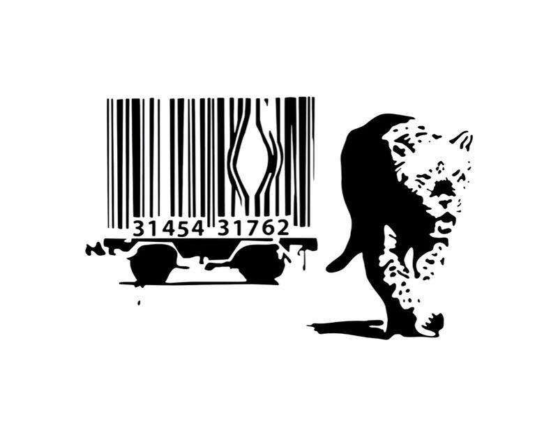 Barcode - BANKSY desde AUX BEAUX-ARTS, Prodi Art, consumo, código de barras, leopardo, Banksy