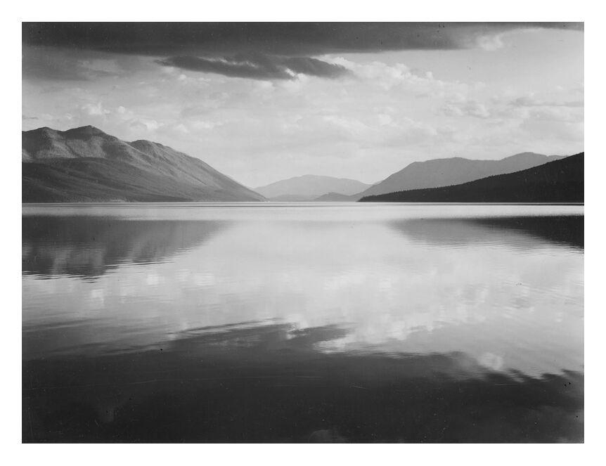 Evening McDonald Lake Glacier National Park - ANSEL ADAMS from AUX BEAUX-ARTS, Prodi Art, ANSEL ADAMS, park, lake, black White, USA