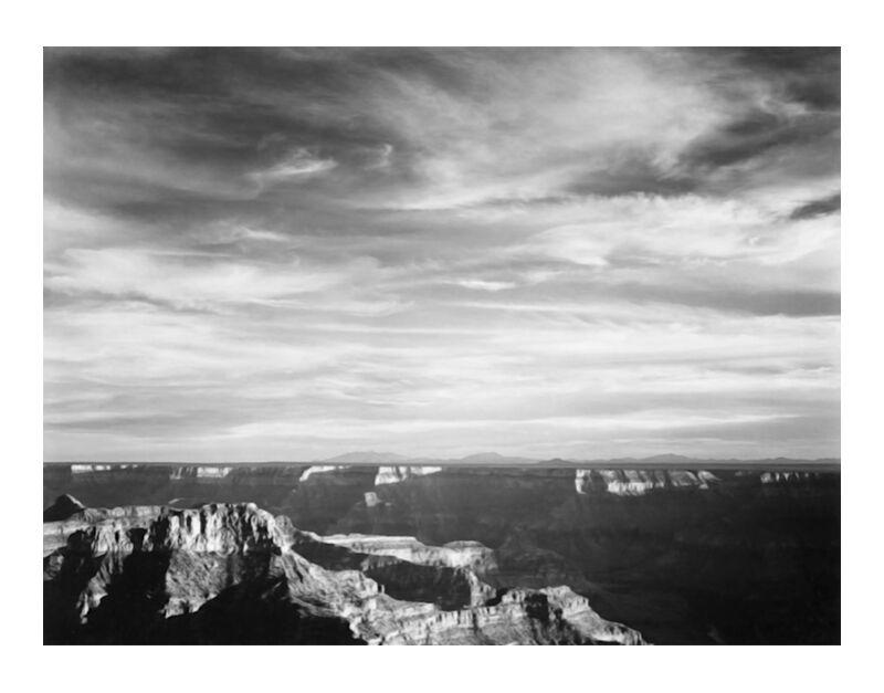 View Of Canyon In Foreground Horizon Montains - Ansel Adams desde AUX BEAUX-ARTS, Prodi Art, ANSEL ADAMS, blanco y negro, montañas, cañón
