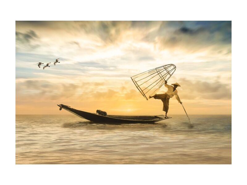 The fisherman desde Pierre Gaultier, Prodi Art, fischer, barco de pesca, bota, pescado, mar, agua, lago, red de pesca, gaviotas, cielo, puesta del sol, romántico, paisaje, nubes, naturaleza, estado animico, abendstimmung, cielo de atardecer, brillante, silencio, descanso, puesta de sol, romance, atmosférico, montaje fotográfico, composición