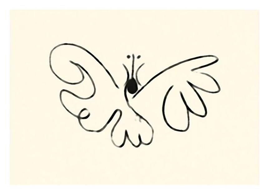 The Butterfly - Picasso from AUX BEAUX-ARTS, Prodi Art, traits, drawing, picasso, butterfly