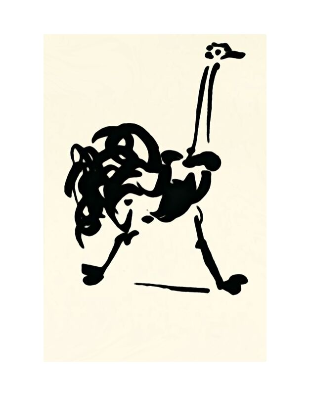 The Ostrich - Picasso from AUX BEAUX-ARTS, Prodi Art, picasso, drawing, line drawing, Ostrich