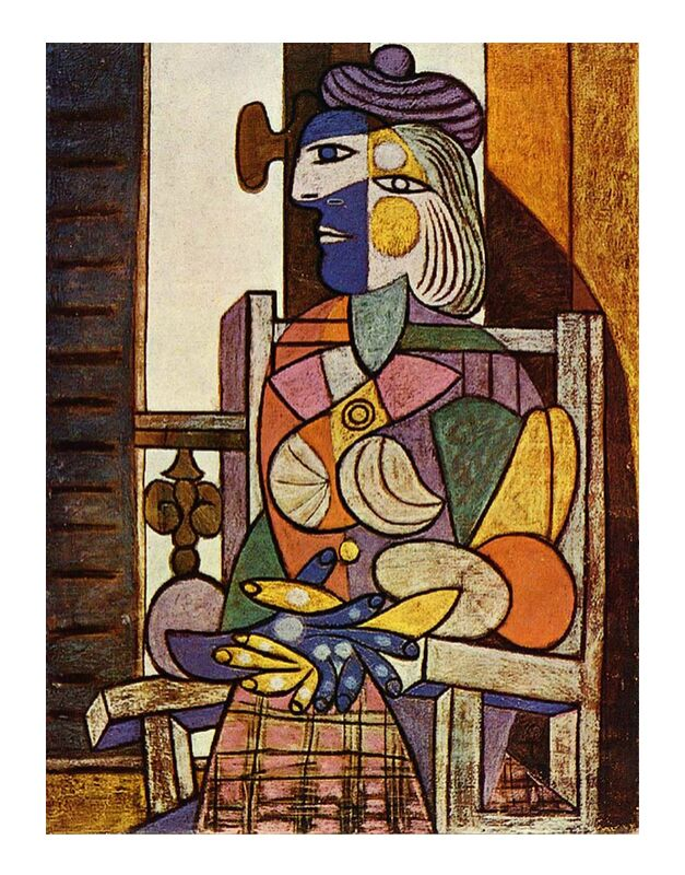 Woman Sitting in Front of The Window - Picasso from AUX BEAUX-ARTS, Prodi Art, picasso, abstract, painting, woman