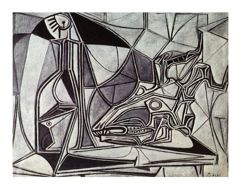 Goat's Skull, Bottle and Candle - Picasso desde AUX BEAUX-ARTS, Prodi Art, vela, cabra, abstracto, pintura, picasso