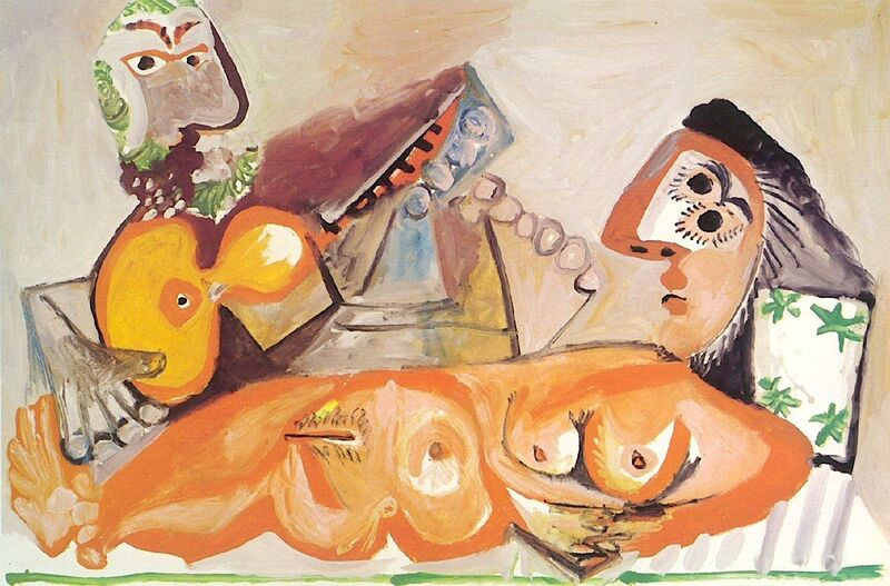 Reclining Nude and Musician - Picasso desde AUX BEAUX-ARTS Decor Image