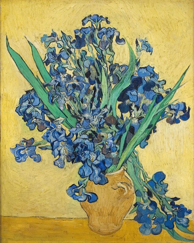 Vase of Irises Against a Yellow Background - Van Gogh from AUX BEAUX-ARTS Decor Image