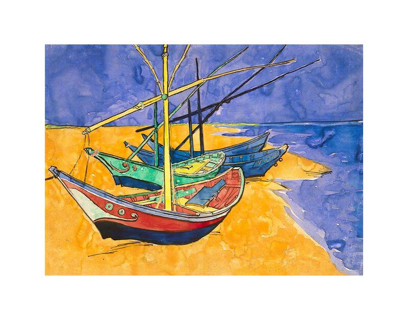 Boats on the Beach of Les-Saintes-Maries - Van Gogh desde AUX BEAUX-ARTS, Prodi Art, Van gogh, pintura, barco, playa, verano, mar, ola