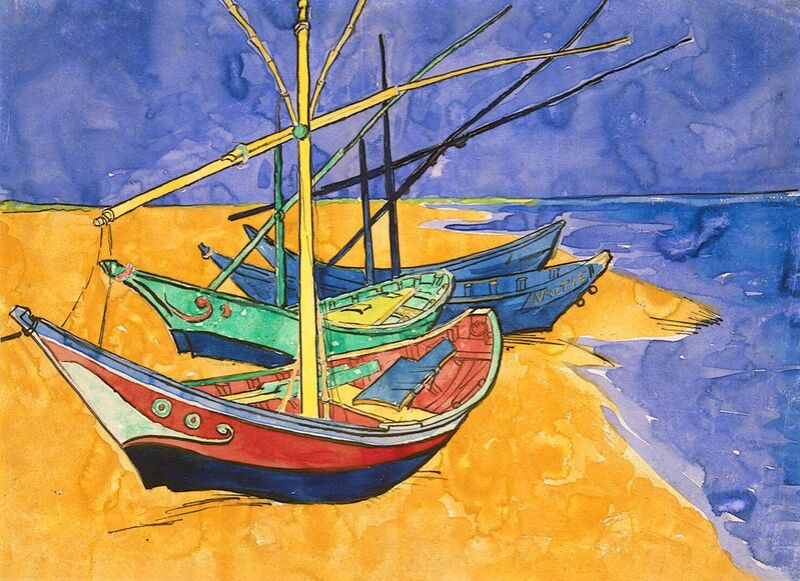 Boats on the Beach of Les-Saintes-Maries - Van Gogh from AUX BEAUX-ARTS Decor Image