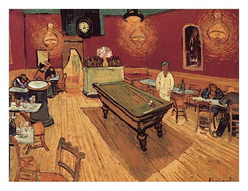 Night Cafe - Van Gogh from AUX BEAUX-ARTS, Prodi Art, Van gogh, painting, coffee, billiards