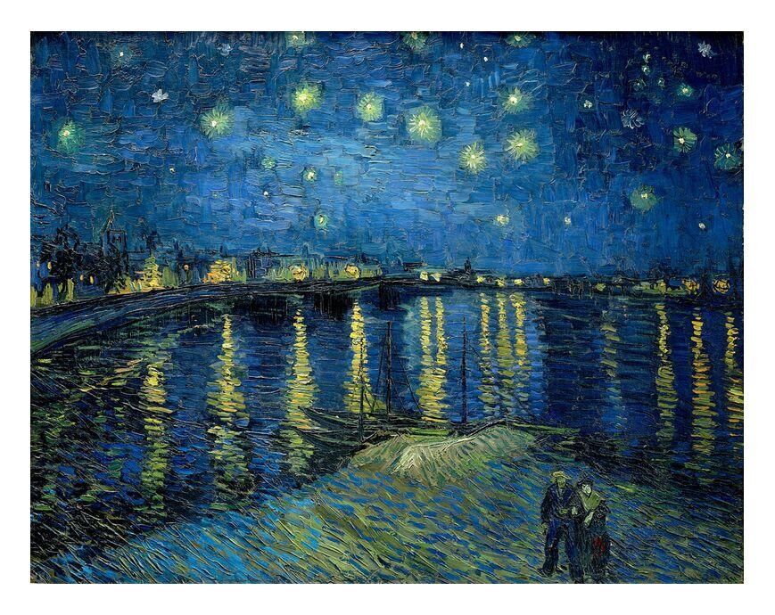 La Nuit Étoilée au Dessus du Rhône- Van Gogh de AUX BEAUX-ARTS, Prodi Art, Van gogh, nuit, Port, ville, étoiles, lumières, couple, eau
