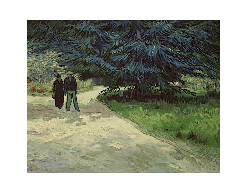 Couple in the Park - Van Gogh desde AUX BEAUX-ARTS, Prodi Art, Van gogh, pintura, Pareja, parque, árbol, camino, vegetales