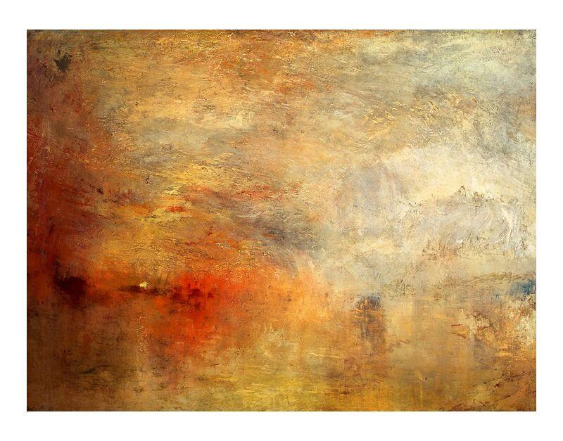 Sundown over a Lake - TURNER desde AUX BEAUX-ARTS, Prodi Art, TORNERO, pintura, puesta del sol, sol, cielo