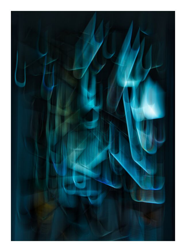Les bouts de miroir de Céline Pivoine Eyes, Prodi Art, bleu, miroir, reflets, Photographie abstraite, abstrait, Mouvement intentionnel de la caméra, ICM