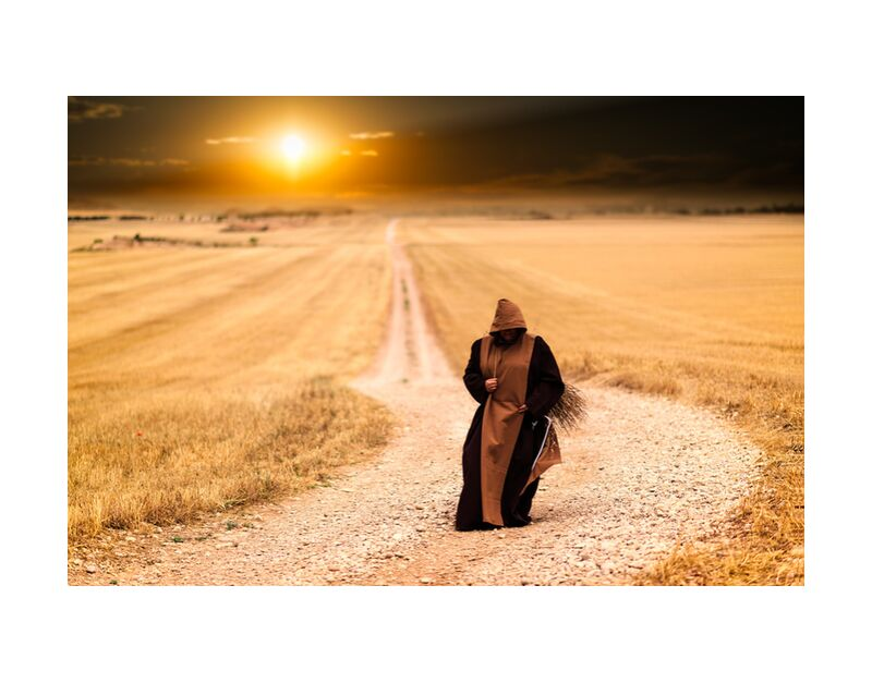 The walk of the monk from Pierre Gaultier, Prodi Art, monks, path, sunset, landscape, afternoon