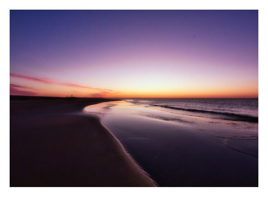 La plage de Gruissan et le pêcheur de Céline Pivoine Eyes, Prodi Art, gruissan, couleurs, lever du soleil, lever du soleil, plage, mer, sable, paysage marin, paysage, Voyage, Mer d'huile, Reflets violets