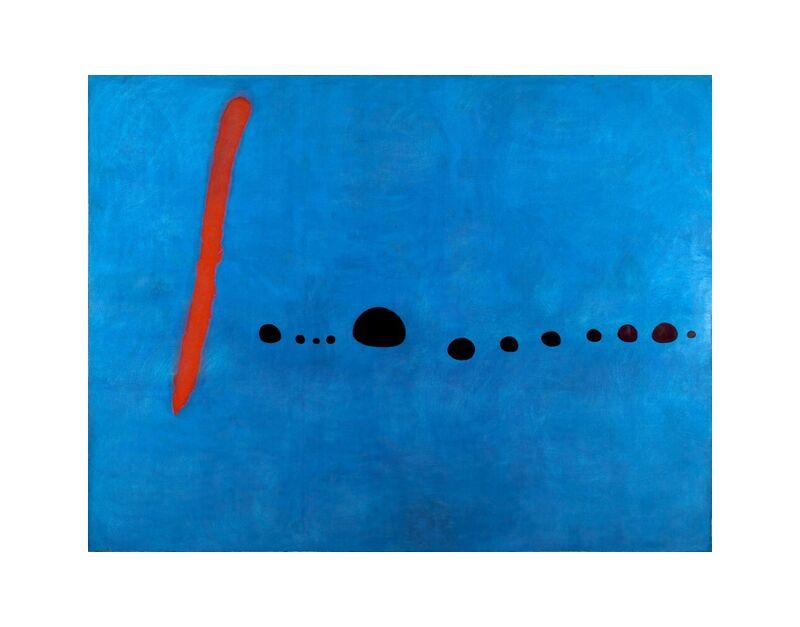 Bleu II - Joan Miró de AUX BEAUX-ARTS, Prodi Art, Joan Miró, bleu, dessin, abstrait, infini, rouge, traits, points, peinture