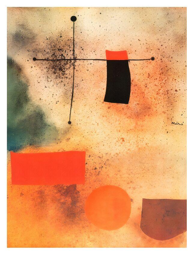 Abstrait, c.1935 - Joan Miró de AUX BEAUX-ARTS, Prodi Art, Joan Miró, abstrait, dessin, croix, plage