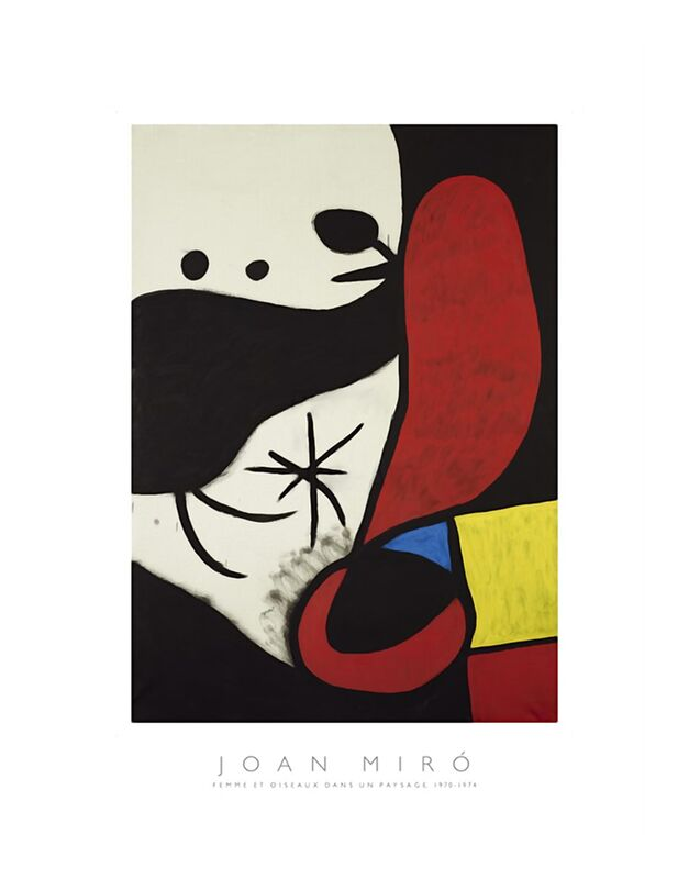 Women and Birds in a Landscape - Joan Miró desde AUX BEAUX-ARTS, Prodi Art, Joan Miró, pintura, abstracto, mujer, póster, colores