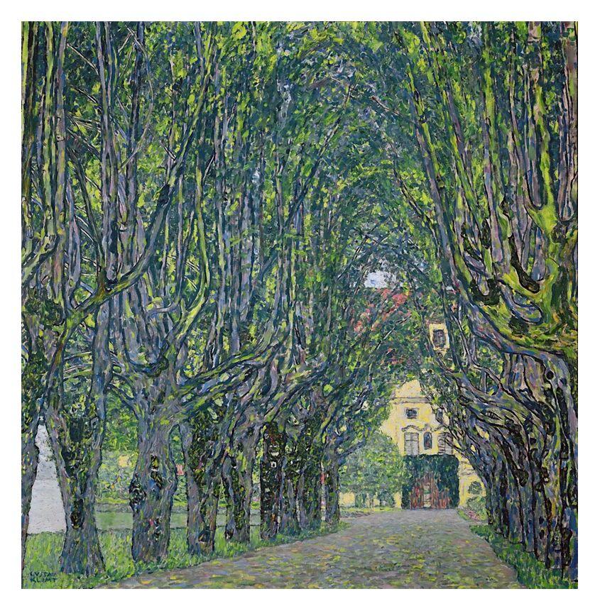 Avenue dans le Parc du Château de Kammer, 1912 - KLIMT de AUX BEAUX-ARTS, Prodi Art, KLIMT, peinture, vert, arbres, maison, chemin, allée