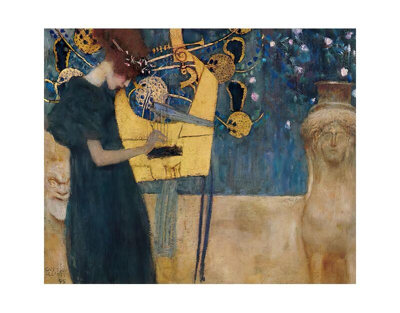 Music, 1895 - KLIMT desde AUX BEAUX-ARTS, Prodi Art, KLIMT, pintura, mujer, música, abstracto, verde
