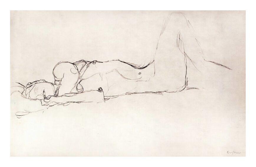 Femme Nue au Lit - KLIMT de AUX BEAUX-ARTS, Prodi Art, KLIMT, dessin au crayon, femme, nu, femme nue, esquisser