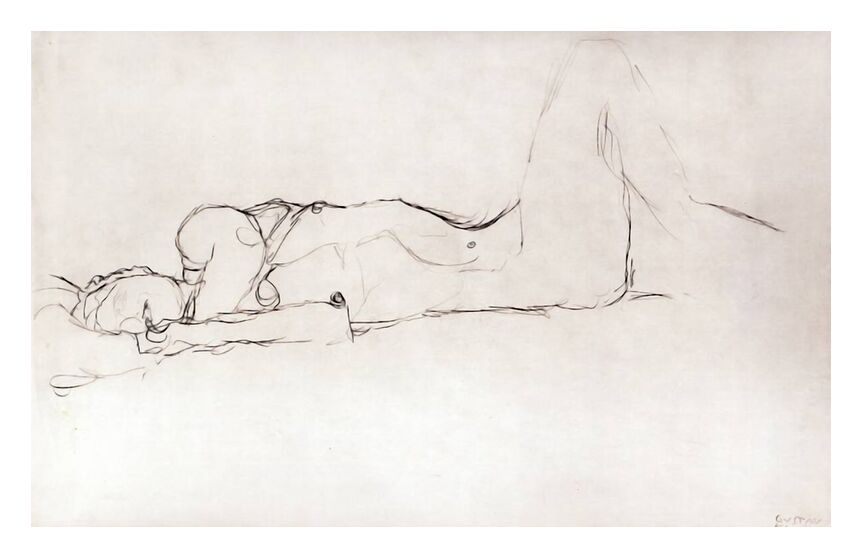 Nude Woman in Bed - KLIMT from AUX BEAUX-ARTS, Prodi Art, sketch, naked woman, nude, woman, pencil drawing, KLIMT