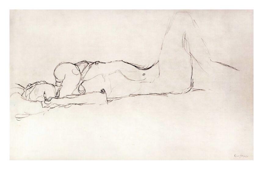 Femme Nue au Lit - KLIMT de AUX BEAUX-ARTS, Prodi Art, esquisser, femme nue, nu, femme, dessin au crayon, KLIMT
