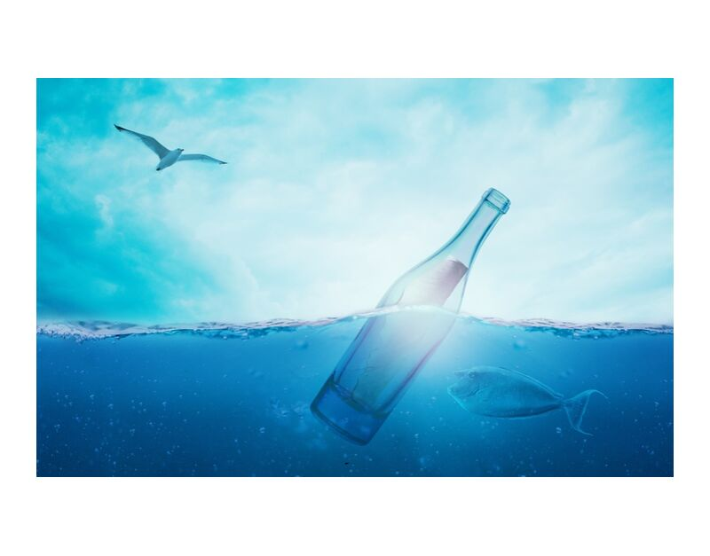 A bottle in the sea from Pierre Gaultier, Prodi Art, sea, water, message in a bottle, ocean, wave, light, forward, bottle, clouds, cloudiness, fish, mood, underwater, sky, creature, nature, horizon, meeresbewohner, sea water, underwater world, swim, animal, marine life, light blue, blue