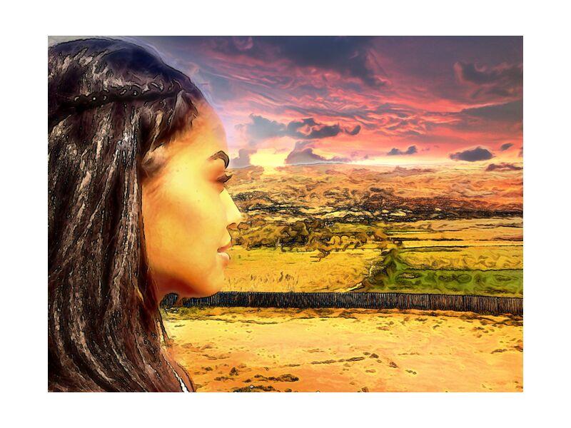 Sun of Africa from Adam da Silva, Prodi Art, braids, desert, vegetation, trees, hairdressing, lands, sunset, woman, africa, Sun, hills, clouds, sky, profile, profile face