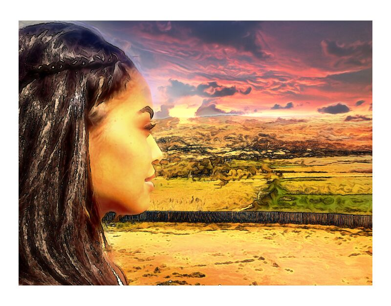 Sun of Africa from Adam da Silva, Prodi Art, braids, desert, vegetation, trees, hairdressing, lands, sunset, woman, africa, Sun, hills, clouds, sky, profile, profile face