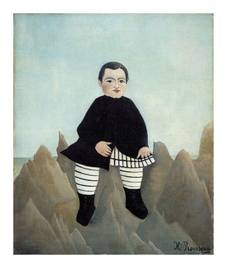 Garçon sur un Rocher de AUX BEAUX-ARTS, Prodi Art, enfant, garçon, Rousseau, rocher, peinture, portrait