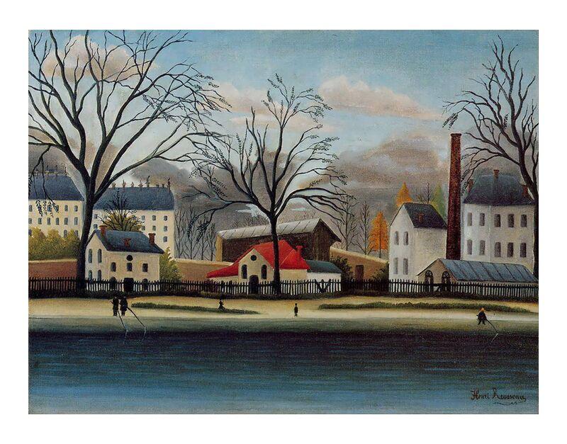 Suburban Scene desde AUX BEAUX-ARTS, Prodi Art, Rousseau, pintura, casas, árbol, otoño, cielo, nubes, afueras