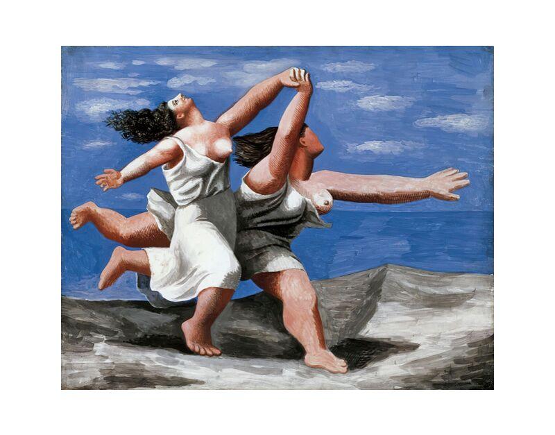 Deux femmes courant sur la plage de AUX BEAUX-ARTS, Prodi Art, course à pied, cours, femmes, picasso, peinture, plage, nuages, ciel