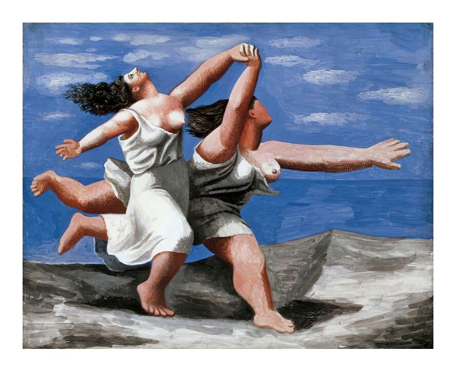 Deux femmes courant sur la plage de AUX BEAUX-ARTS, Prodi Art, ciel, nuages, plage, peinture, picasso, femmes, cours, course à pied