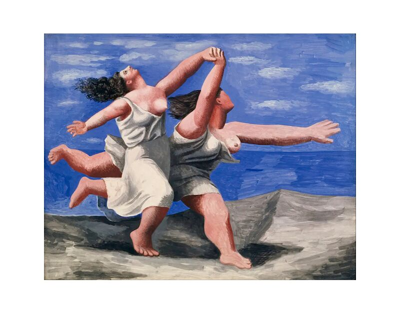 Two women running on the beach desde AUX BEAUX-ARTS, Prodi Art, cielo, nubes, playa, pintura, picasso, mujeres, curso, carrera a pie