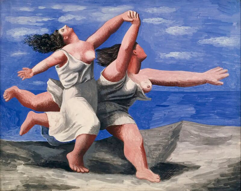 Two women running on the beach from AUX BEAUX-ARTS Decor Image