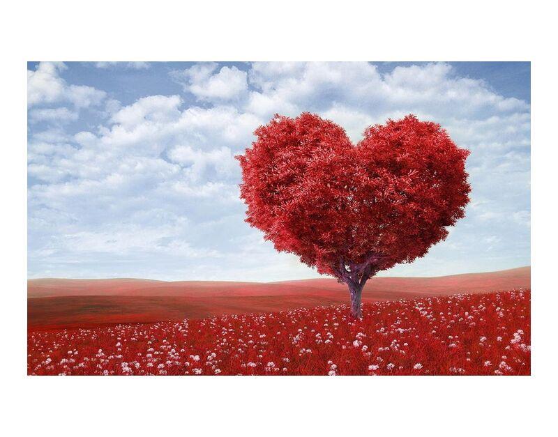 En forme de coeur de Pierre Gaultier, Prodi Art, artistique, fleur, brillant, nuages, campagne, champ, flore, fleurs, cœur, horizon, landsape, paysage, feuilles, amour, nature, en plein air, paisible, rouge, romantique, arbre