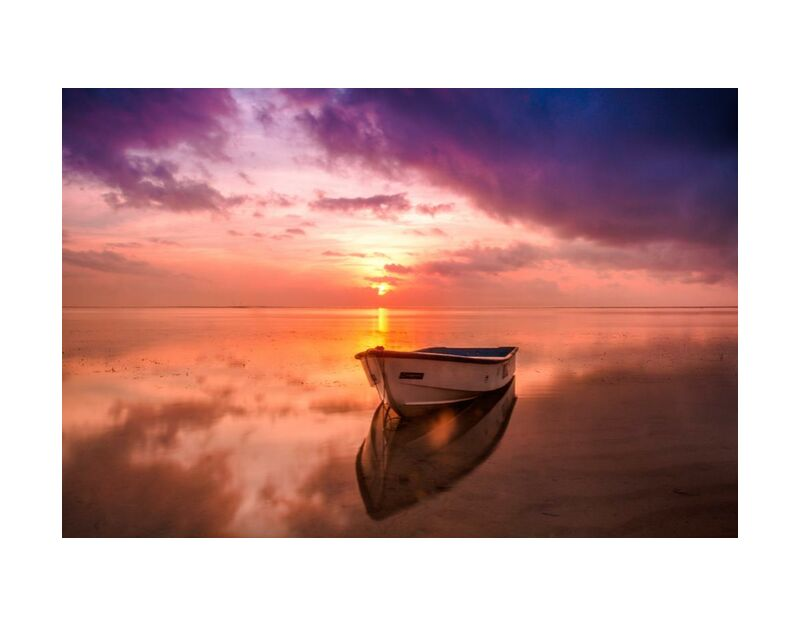 On the rowboat from Pierre Gaultier, Prodi Art, water, sunset, sunrise, Sun, sky, seascape, sea, reflection, outdoors, ocean, nature, dusk, dawn, boat, beach