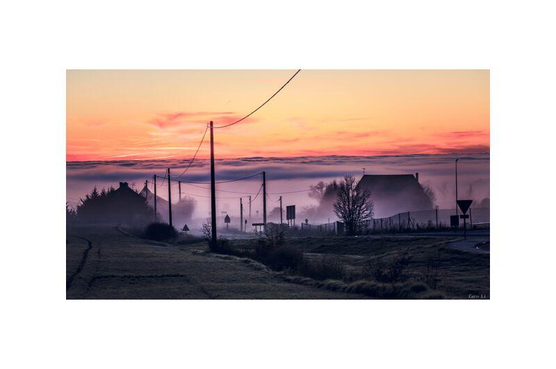 Ghost City from Caro Li, Prodi Art, city, sunset, town, fog, sunset