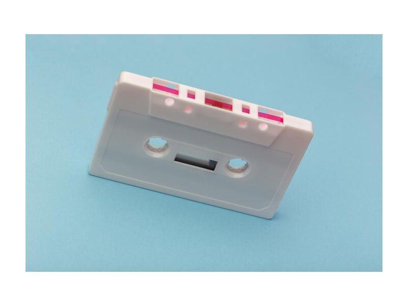 Cassette from Aliss ART, Prodi Art, audio, classic, device, equipment, music, pink, record, retro, sound, technology, vintage, white, blank, blue background, cassette, cassette tape, plastic, recording, style  tape