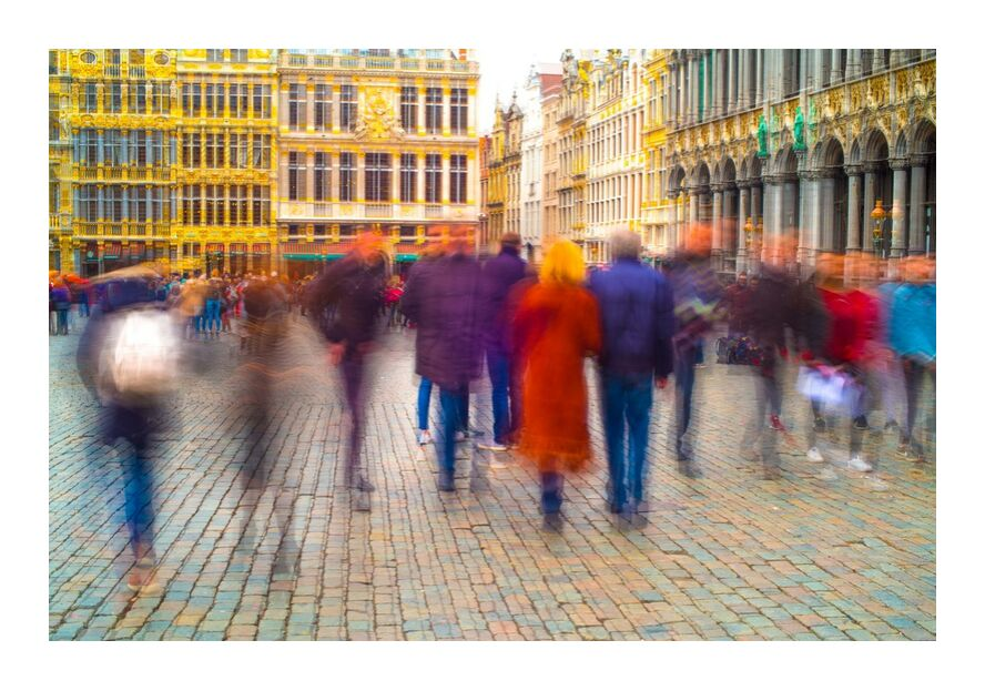 Fantômes Urbains from Pierre Rousseau, Prodi Art, Brussels, Belgium, ghosts, fuzzy, people, Grand Place, city, capital, people, characters, colors