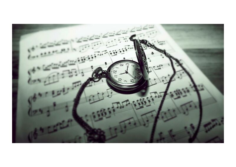 Temps musical from Aliss ART, Prodi Art, antique, black and-white, classic, composing, focus, paper, pocket watch, still life, time, vintage, royalty free images, guidance, music sheet, musical composition, musical notes, stainless steel,