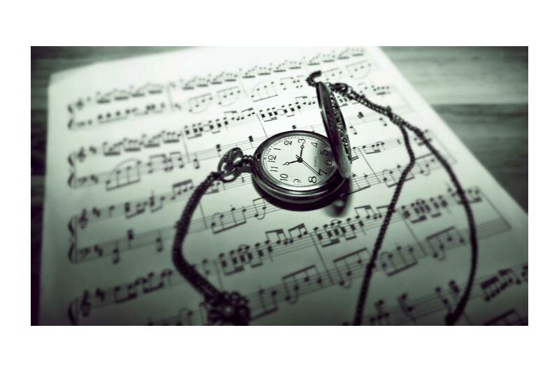 Musical time from Aliss ART, Prodi Art, timer, stainless steel, musical notes, musical composition, music sheet, guidance, royalty free images, raw, time, still life, pocket watch, paper, focus, composing, classic, black-and-white, antique