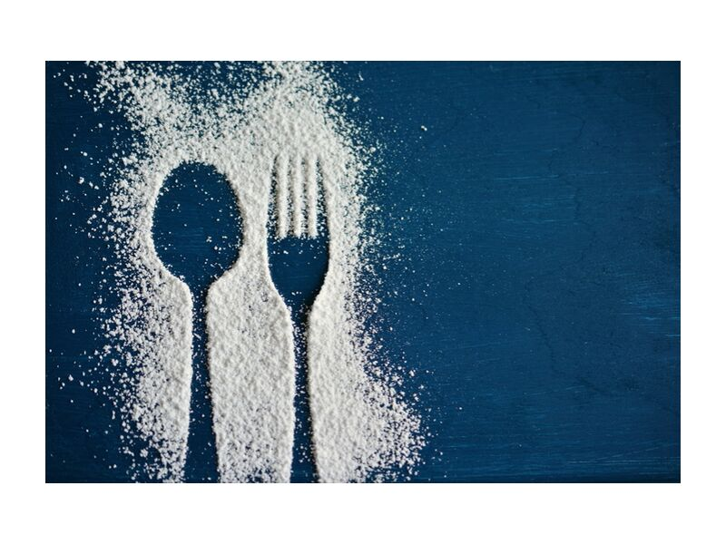 Salt and cutlery from Pierre Gaultier, Prodi Art, blue, table, salt, spoon, fork