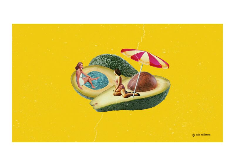 Avocado Beach from IULIA CATINEANU, Prodi Art, visual arts, lawyer, art collage, pop-art, , beach, collage, women, pool, inspiration