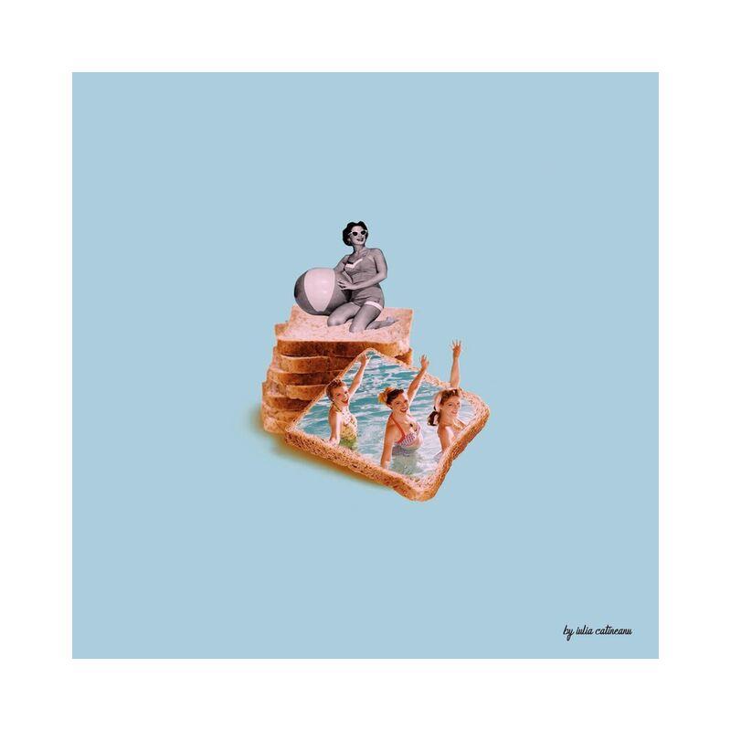 Vamos a la playa de IULIA CATINEANU, Prodi Art, art, pop Art, collage, surrealisme, brut, rétro, arts visuels, bleu