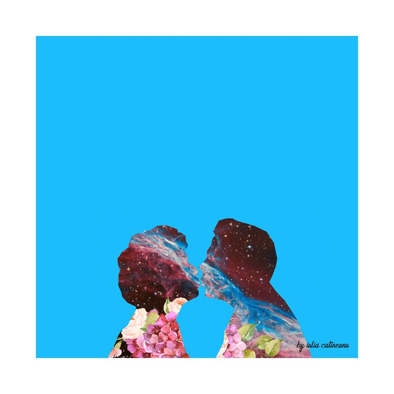 Space love from IULIA CATINEANU, Prodi Art, pop-art, blue, love, couple, universe