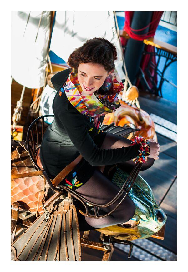 Zabee de Marie Guibouin, Prodi Art, foulard, , couleurs, peinture, marie guibouin, machines de l'ile, nantes, Voyage, enfant, Marin, carrousel, femme