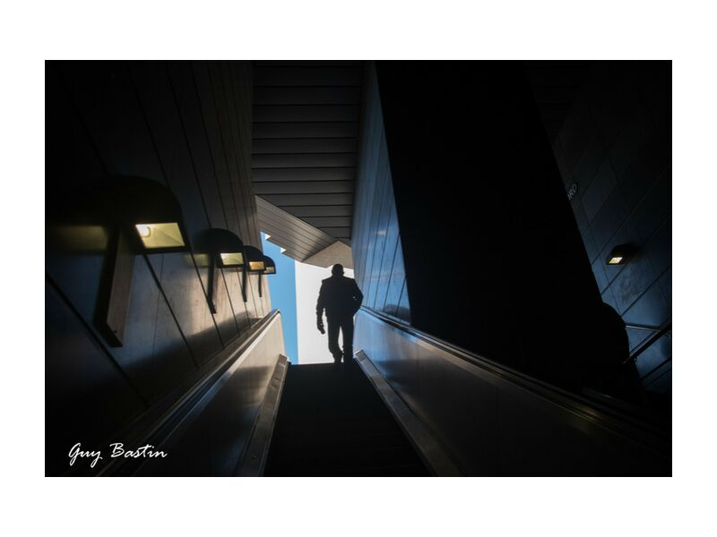 Le voyageur from Guy Bastin, Prodi Art, staircase, architecture, shadow and light