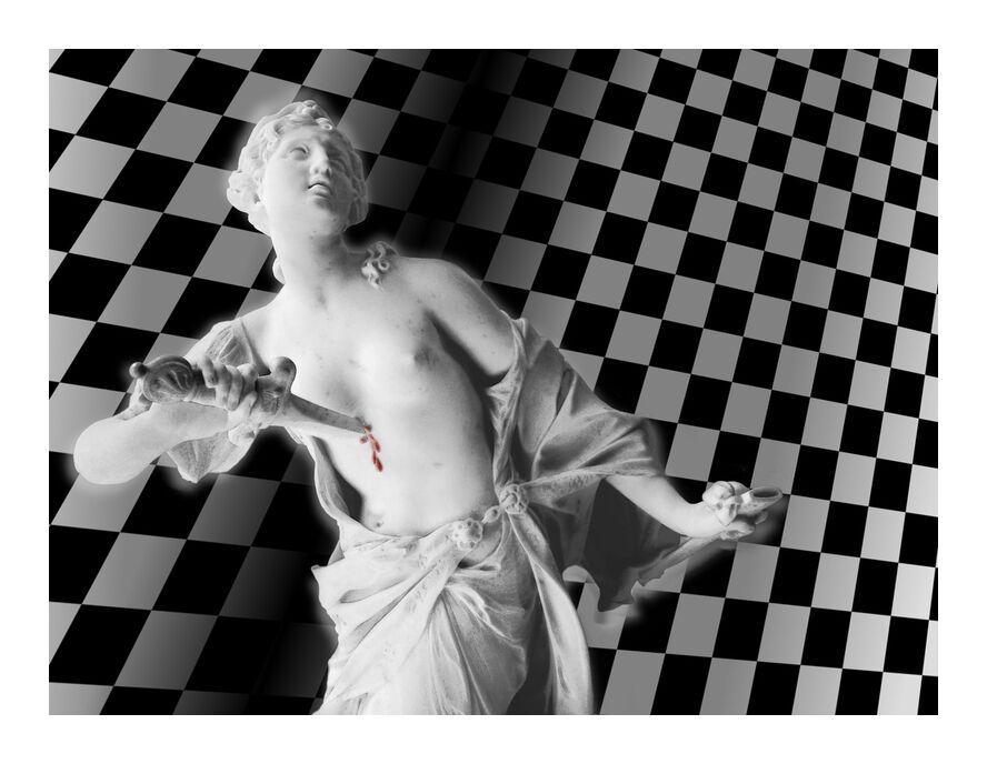 La dague et le damier de Adam da Silva, Prodi Art, noir et blanc, femme, dague, épée, couteau, révolution, damier